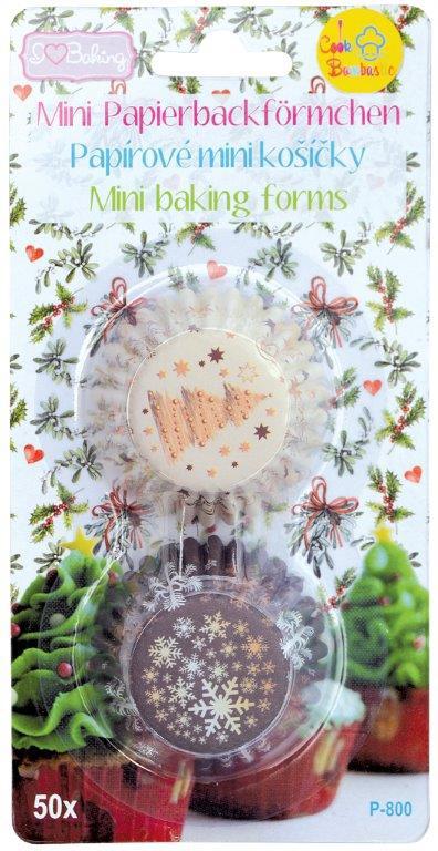 Papírové košíčky na pralinky 50 ks č. P-800 Vánoční stromeček/Sněhové vločky