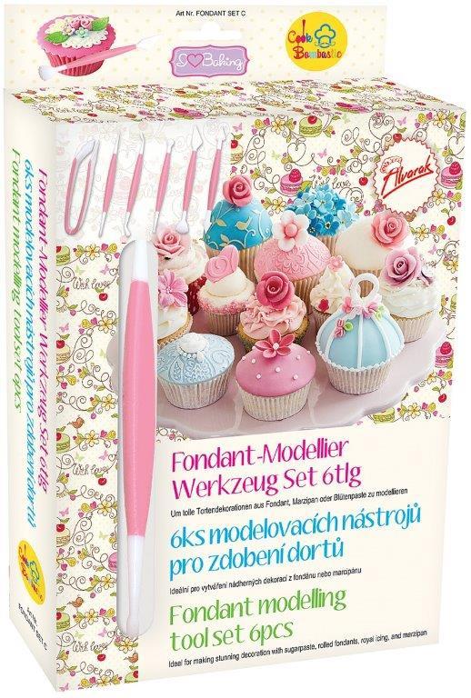 6ks oboustranných modelovacích nástroju pro zdobení dortů Fondant Set C - Fondant Set C