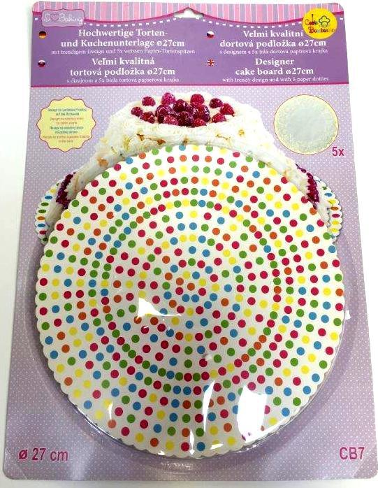NOVINKA: Barevná dortová podložka 27cm s designem CB7