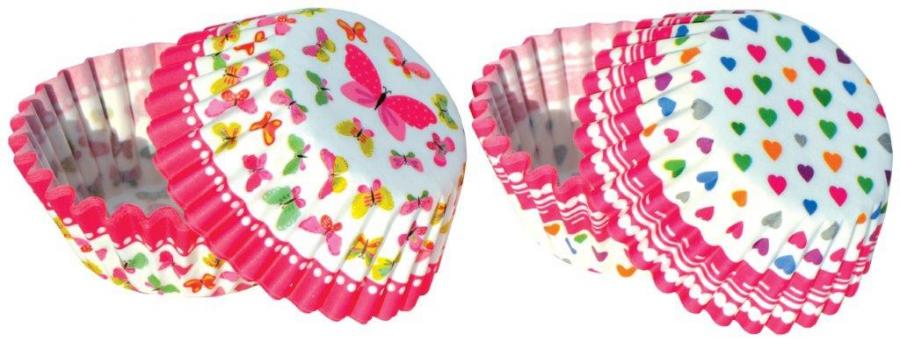 Papírové košíčky na pralinky 50 ks č. P-806 motýlci / srdíčka