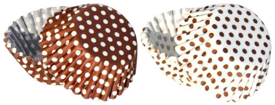 Papírové košíčky na pralinky 50 ks č. P-807 hnědy puntíky