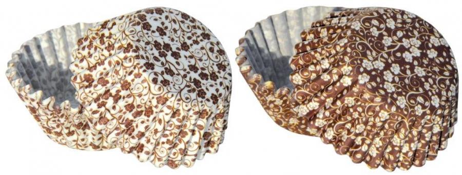 Papírové košíčky na pralinky 50 ks č. P-808 hnědý s motivem kytky