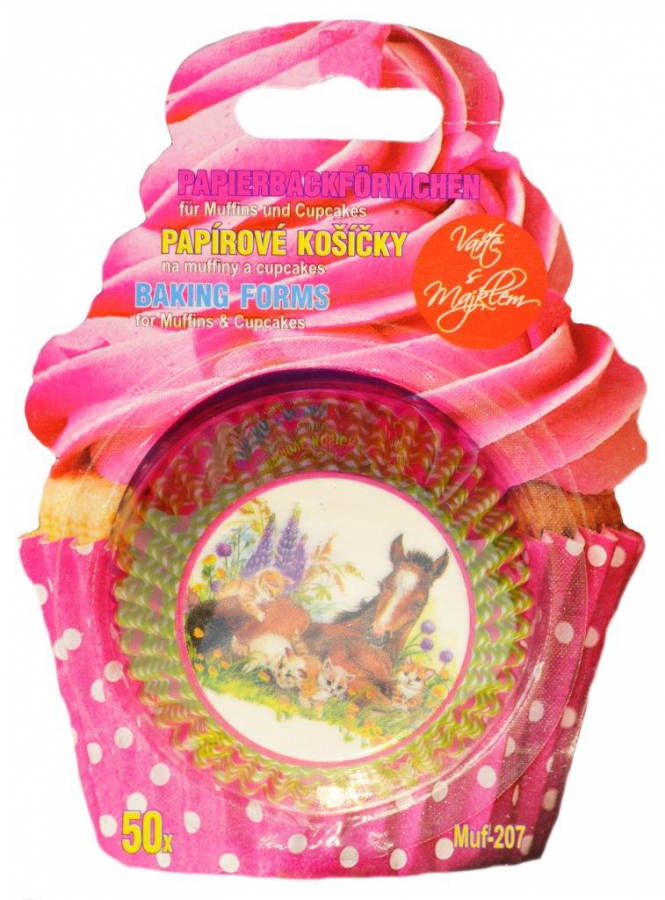Papírové košíčky na Muffiny a cupcakes 50ks č. Muf-207  hříbě