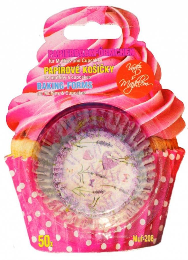 Papírové košíčky na Muffiny a cupcakes 50ks č. Muf-208  levandule