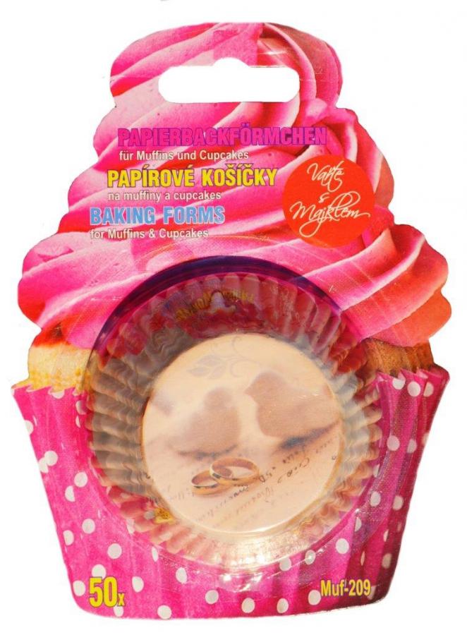 Papírové košíčky na Muffiny a cupcakes 50ks č. Muf-209  svatební motiv